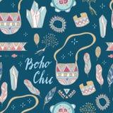 Boho Elegant naadloos patroon Het ontwerp van het de zomerfestival Royalty-vrije Stock Foto's