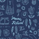 Boho Elegant naadloos patroon Het ontwerp van het de zomerfestival Royalty-vrije Stock Afbeeldingen