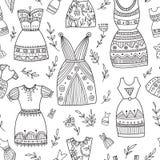 Boho ethnic style dresses seamless pattern. Stock Photos