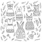 Boho ethnic style dresses set. Royalty Free Stock Photo