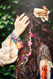 Boho fashion hair details. Woman boho style hair fashion details closeup outdoor shot Stock Image