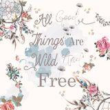 Boho fashion print design with dreamcatcher and quotes. All good things are free Royalty Free Stock Images