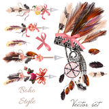 4)	Boho fashion set from vector decorative elements head dress,