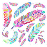 Boho feather collection in bright colorful vector design royalty free stock photo