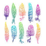 Boho feather hand drawn effect vector style illustration Royalty Free Stock Photography