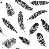 Boho feather hand drawn effect vector style seamless pattern illustration. Vector illustration of black boho feather. Boho indian feathers seamlesss texture royalty free illustration