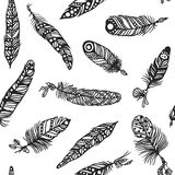 Boho feather hand drawn effect vector style seamless pattern illustration Stock Image
