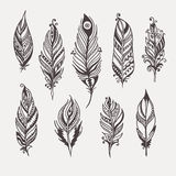 Boho feather hand drawn set Royalty Free Stock Photos