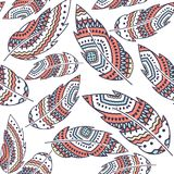 Boho Feather vector seamless repeat pattern, ethnic tribal ornament, detailed illustration Royalty Free Stock Image