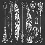 Boho feathers and arrows Stock Photos