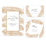 Boho feathers gold wedding set Royalty Free Stock Photo