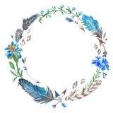 Boho Floral and Feather Wreath Stock Photos