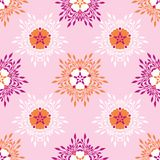 Boho Flower Blooms All Over Print Vector. Colorful Floral Seamless Repeating Pattern. Paper Cut Collage Style Background. Hand Drawn Fashion Prints, Wallpaper royalty free illustration