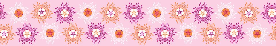 Boho Flower Blooms Vector Stripes Border Banner. Bright Seamless Repeating Ribbon in Geometric Circle Style. Pink Background. Striped for Summer Fashion Trim stock illustration