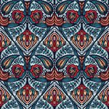 Boho flower damask all over print. Seamless vector repeating pattern swatch. Red black bohemian folk motif background. Hand drawn. Boho flower damask all over stock illustration