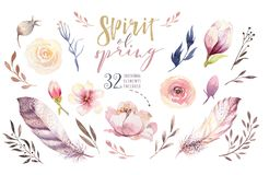 Boho flower set. Colorful floral collection with leaves and flowers, drawing watercolor. Spring or summer bouquet design. For invitation, wedding or greeting royalty free illustration
