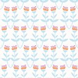 Boho Flower Summer Blooms. Coral Blue, White Floral Seamless Repeating Pattern. All Over Print Vector. Trendy Hand Drawn Decorative Paper Cut Style for Textile stock illustration