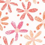 Boho Flower Summer Blooms. Coral Purple, White Floral Seamless. Repeating Pattern. All Over Print Vector. Trendy Hand Drawn Decorative Paper Cut Style for stock illustration