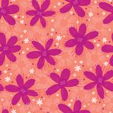 Boho Flower Summer Blooms. Coral Purple, White Floral Seamless Repeating Pattern. All Over Print Vector. Trendy Hand Drawn Decorative Paper Cut Style for royalty free illustration