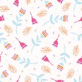 Boho Flower Summer Blooms. Coral Purple, White Floral Seamless Repeating Pattern. All Over Print Vector. Trendy Hand Drawn Decorative Paper Cut Style for stock illustration