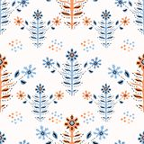 Boho Folk Flower Daisy Blooms in Pretty Coral Blue Floral Seamless Repeating Pattern. All Over Print Vector. Ethnic Style Paper Cut Decorative Plant Textile vector illustration