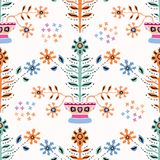 Boho Folk Flower Daisy Blooms in Pretty Pot. Floral Seamless Repeating Pattern. All Over Print Vector. Ethnic Style Paper Cut Decorative Plant Wallpaper vector illustration