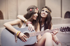 Boho girls on the street Royalty Free Stock Photography