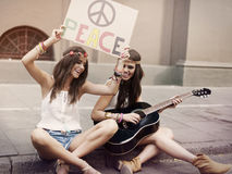 Boho girls on the street Royalty Free Stock Image