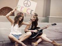 Boho girls on the street Royalty Free Stock Image