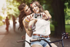 Boho girls taking selfie Royalty Free Stock Photos