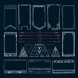 Boho hand drawing doodle collection vector illustration Royalty Free Stock Images