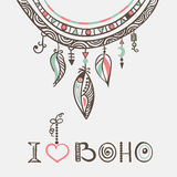 Boho hand drawn dreamcatcher eps8 Royalty Free Stock Photos
