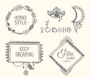 Boho hand drawn frames with feathers set Royalty Free Stock Photo
