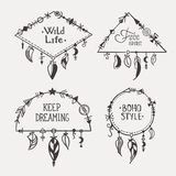 Boho hand drawn frames with feathers set Stock Image