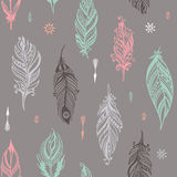 Boho hand drawn seamless pattern eps10 Stock Images