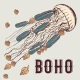 Boho-Hintergrund mit Quallen Lizenzfreie Stockfotos