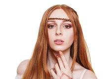 Boho hippie style young redhead woman isolated Royalty Free Stock Photo