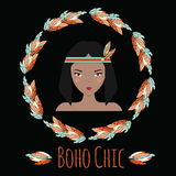 Boho indian girl in feather wreath in hand drawn style Royalty Free Stock Photo