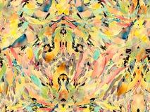 Boho kaleidoscope abstract seamless pattern. Yellow blue ethnic texture. Watercolor bohemian moroccan print. Swimwear watercolour abstract tie dye interior stock illustration