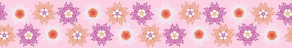 Boho kwiatu kwiatów Wektorowych lampasów Rabatowy sztandar Jaskrawy bezszwowy royalty ilustracja