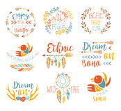 Boho Logo Hand Drawn Banner Set Fotografie Stock