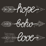 Boho, Love, Hope Arrows  with feathers. Decorative Arrows for ad Stock Photos