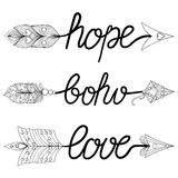Boho, Love, Hope Arrows. Hand drawn Signs with feathers. Decorat Royalty Free Stock Image