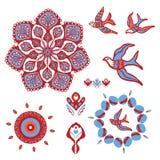 Boho Mandala with Birds Flying Vector Elements Set stock illustration