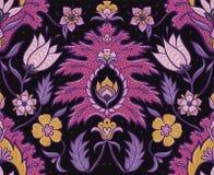 Boho Naadloze Bloementegel - Roze, purple en mosterd stock illustratie