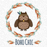 Boho owl in feather wreath in hand drawn style and Royalty Free Stock Photos