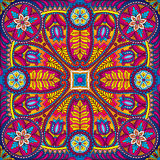 Boho paisley  square kerchief pattern. Vector illustration of boho oriental indian kerchief ornament Stock Photo