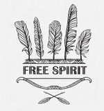 Boho print with feathers, arrows and Indian bow. Vector design with ornamental phrase. Royalty Free Stock Photo