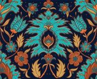 Boho sömlös blom- tegelplatta - turkos och ockra stock illustrationer