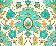 Boho Seamless Floral Tile - Turquoise and Mustard Light vector illustration